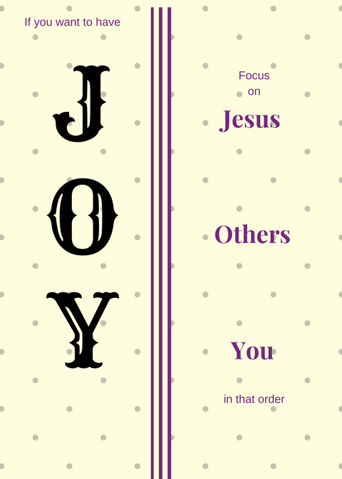 Jesus, Others, You = JOY